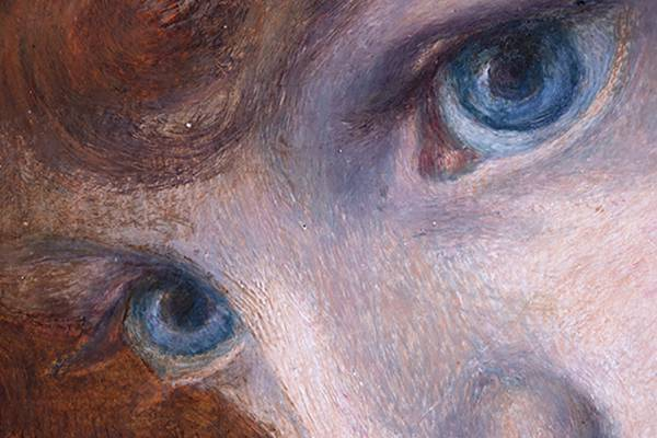 close up on the eyes of a woman in a painting