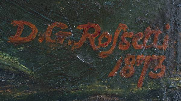 close up on Rossetti's signature on a painting