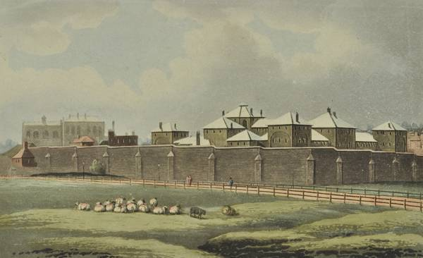 Coldbath Fields Prison, on the approximate site of the modern day Mount Pleasant Post Office in Islington