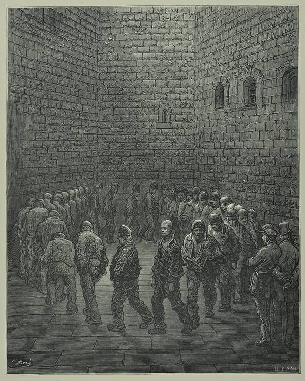 Newgate prisoners in the exercise yard, by Gustav Dore