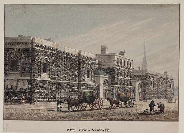 View of Newgate and the Old Bailey from the west, c1815